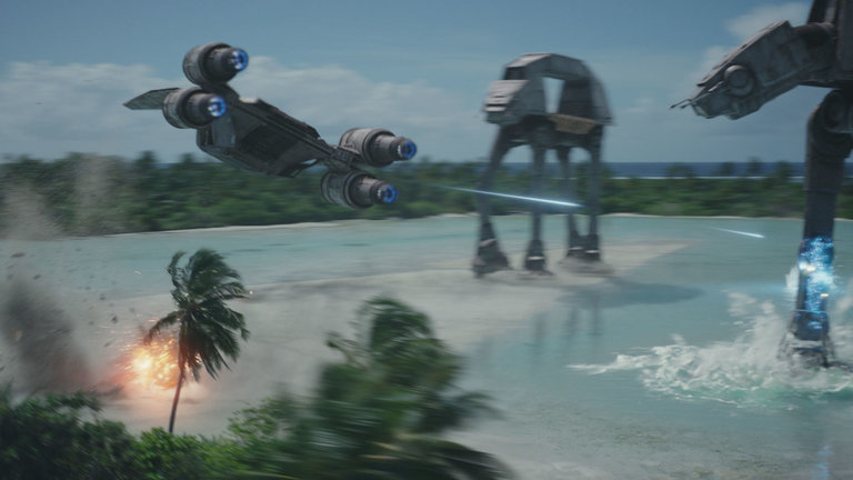 X-Wing atirando em At Ats na praia