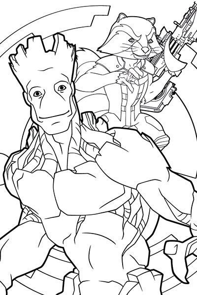 Hoja para colorear de Rocket y Groot
