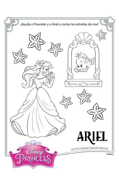 colorea con ariel  princesas disneyes